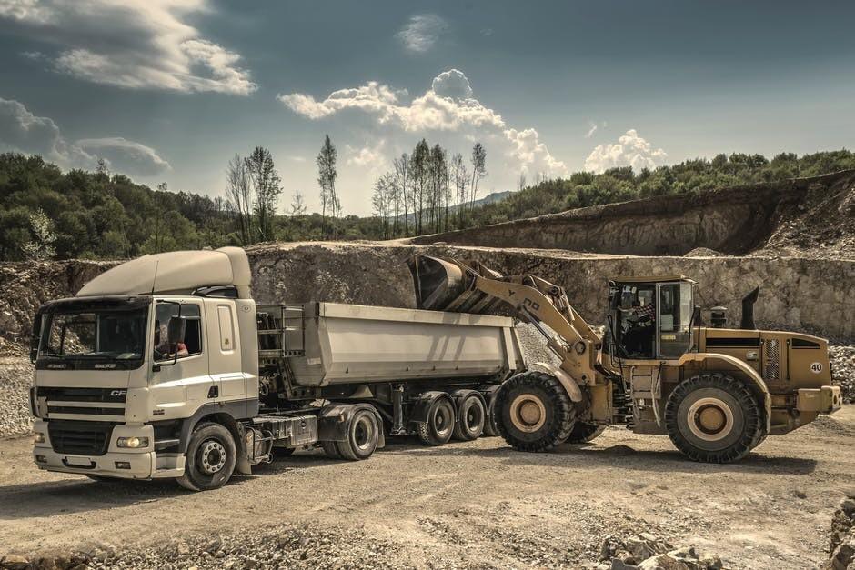 Truck hauling dirt