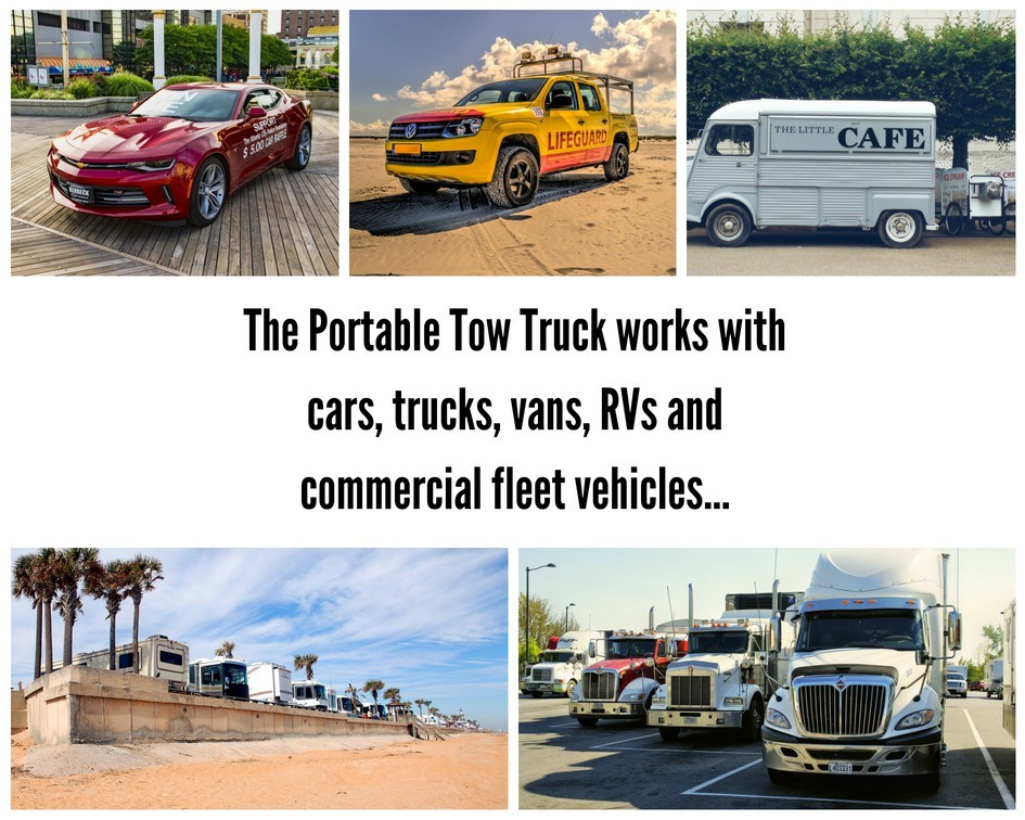 The Portable Tow Truck can be used with any vehicle